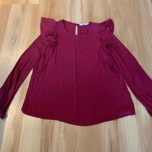 Burgundy silky long sleeved blouse